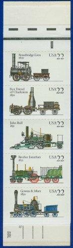 1987 USA UNUSED Scott# 2362-66 - 22c Pane of 5 Locomotives Booklet of 20 stamps � E4116