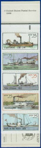 1989 USA UNUSED Scott# 2405-9 - 25c Pane of 5 Steamboats Booklet of 20 stamps � E4116