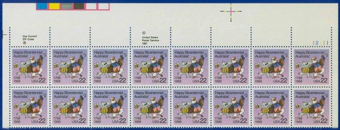 1988 USA UNUSED Scott# 2370 - 22c Australian Koala Partial Sheet of 16 Stamps � E4116