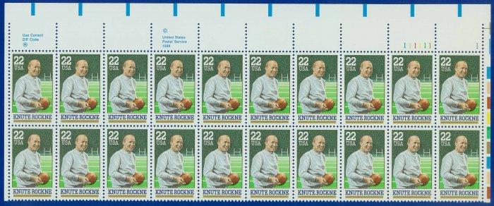 1988 USA UNUSED Scott# 2376 - 22c Knute Rockne Partial Sheet of 20 Stamps � E4116