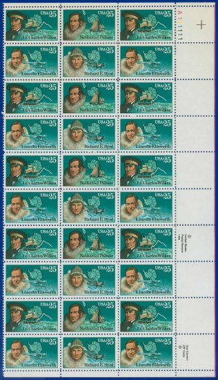 1988 USA UNUSED Scott# 2386-89 - 25c Antarctic Explorers Partial Sheet of 30 stamps � E4116