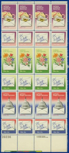 1980 USA UNUSED Scott# 1805-10 - 15c Letter Writing Issue Partial Sheet of 24 stamps � E5592