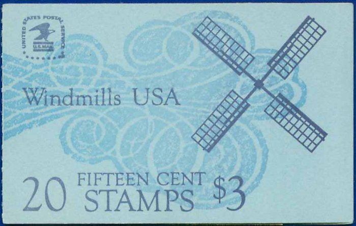 1978-80 USA UNUSED Scott# 1738-42 - 15c Panel of 5 Windmills Booklet of 20 stamps � E9089