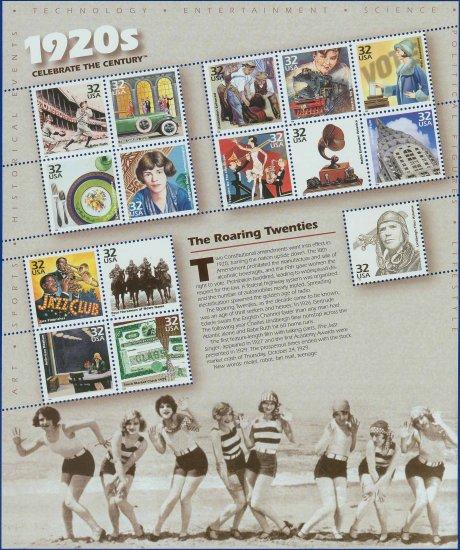 1998 USA MNH UNUSED Scott# 3184 � 32c Celebrate the Century 1920's Sheet of 15 Stamps E9855