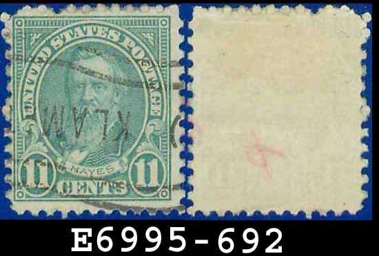 1931 USA USED Scott# 692 - 11c Light Blue Hayes - 1931 Regular Issue