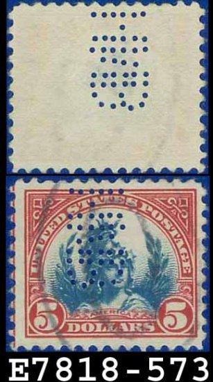 1922-25 USA USED Scott# 573 � $5 Carmine & Blue America � 1922-25 Regular Issue