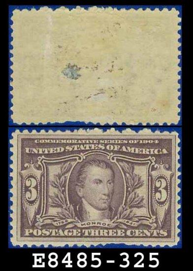 1904 USA UNUSED Scott# 325 � 3c Monroe � 1904 Louisiana Purchase Issue