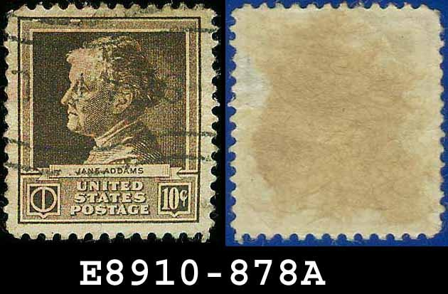 1940 USA USED 878 � 10c Brown Jane Addams � 1940 Famous Americans Issue