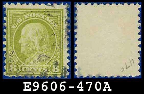 1916-17 USA USED Scott# 470 � 8c Olive Green Franklin � 1916-17 Regular Issue
