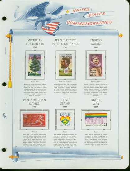 USA MH Sc# 2246 � 50, 75 Six 22c Stamps Hinge Mounted on ONE White Ace Page � E2703