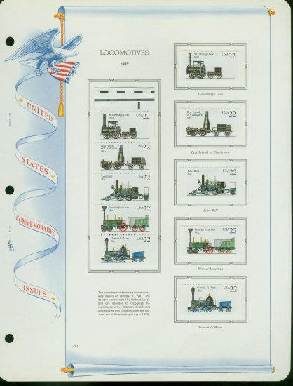 USA MH Scott# 2362 - 66 - 10 - 22c Comm Stamps Hinge Mounted on ONE White Ace Page � E2703