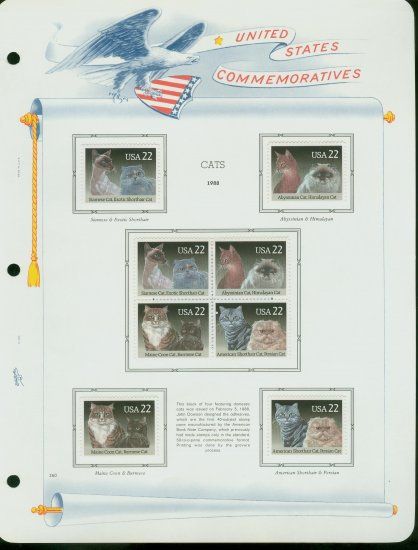 USA MH Scott# 2372 � 73 - 8 - 22c Comm Stamps Hinge Mounted on ONE White Ace Page � E2703
