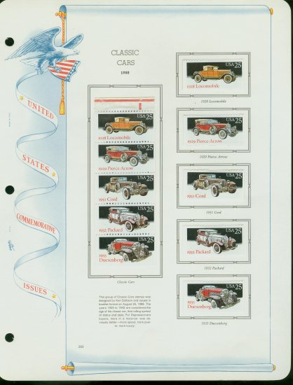 USA MH Sc# 2381 � 85 Ten UNUSED 25c Stamps Hinge Mounted on ONE White Ace ALBUM Page � E2703