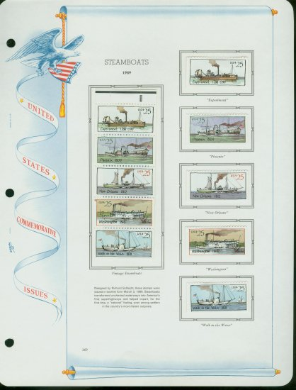 USA MH Sc# 2405 - 09 - Ten UNUSED 25c Stamps Hinge Mounted on ONE White Ace ALBUM Page � E2703