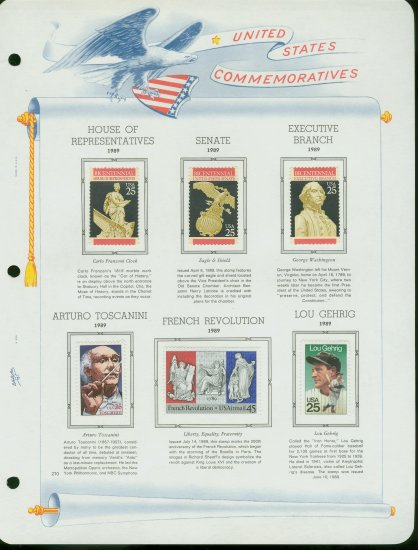 USA MH Sc# 2411 � 17, C120 - 6 UNUSED Stamps Hinge Mounted on ONE White Ace ALBUM Page � E2703
