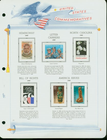 USA MH Sc# 2418 � 26, C121 - 6 UNUSED Stamps Hinge Mounted on ONE White Ace ALBUM Page � E2703