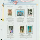 USA MH Sc# 2418 – 26, C121 - 6 UNUSED Stamps Hinge Mounted on ONE White Ace ALBUM Page – E2703