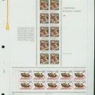 USA MH Sc# 2427 – 28 - 20 UNUSED 25c Stamps Hinge Mounted on ONE White Ace ALBUM Page – E2703