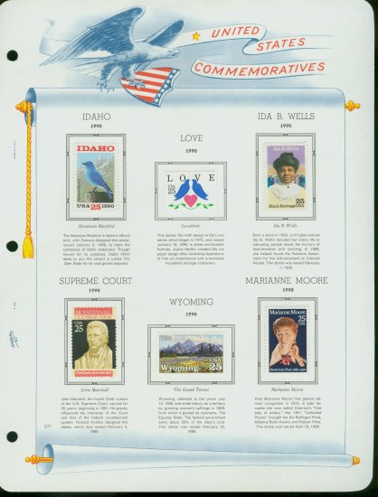 USA MH Sc# 2415 - 49 - 6 UNUSED 25c Comm Stamps Hinge Mounted on ONE White Ace ALBUM Page � E2703