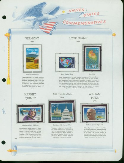 USA MH Sc# 2532�7, C128,9 - 6 UNUSED Stamps Hinge Mounted on ONE White Ace ALBUM Page � E2703