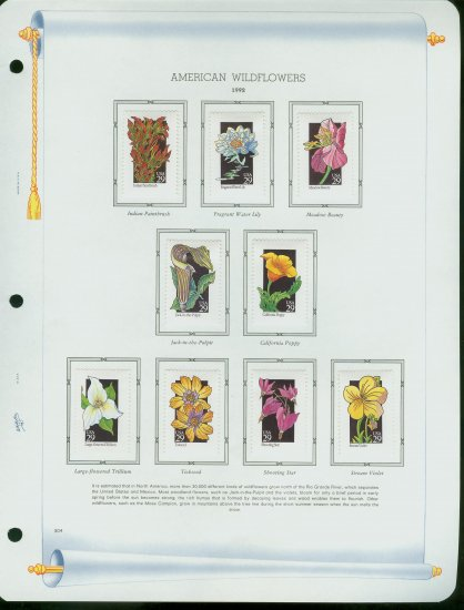 USA MH Sc# 2647 � 96 - 50 - 29c American Wildflowers Stamps Hinge Mounted on 5 WA Pages � E2703