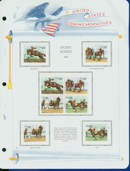 USA MH Sc# 2756 � 59 - 8 UNUSED 29c Stamps Hinge Mounted on ONE White Ace ALBUM Page � E2703