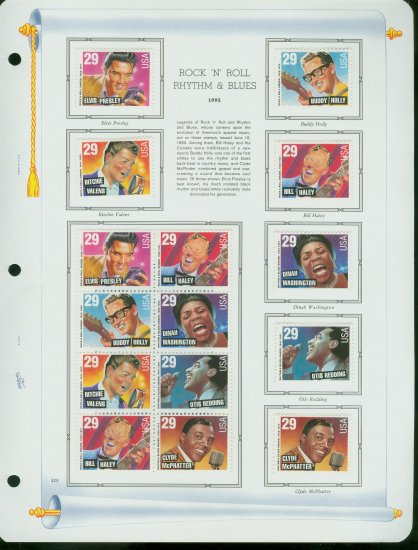USA MH Sc# 2724 - 30 - 15 UNUSED 29c Rock & Roll Stamps Hinge Mounted on ONE WA ALBUM Page � E2703