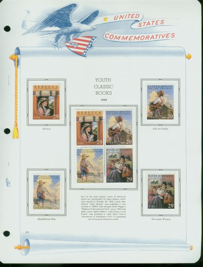 USA MH Scott# 2785 � 88 - 8 UNUSED 29c Stamps Hinge Mounted on ONE White Ace ALBUM Page � E2703