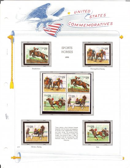 USA Sc# 2756 � 59 - 8 MNHOG UNUSED 29c Stamps Mounted on ONE White Ace ALBUM Page � E8337