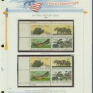 1969 USA MNH Sc# 1387 – 90 Natural History Stamps on WA Pages – Plate #'d Blks of 4 – E2703