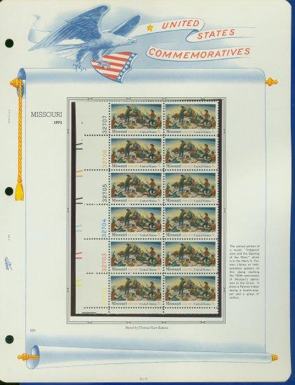 1971 USA MNH Sc# 1426 Plate #�d Blk of 12 Stamps mounted on a WA Pg �Missouri Statehood� E2703