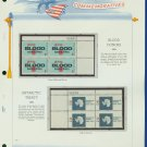 1971 USA MNH Sc# 1425 – 31 - Plate #'d Blocks of 4 Stamps mounted on a White Ace Page – E2703
