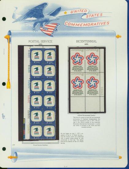 1971 USA MNH Scott# 1396, 1432 - Plate #�d Blocks of Stamps mounted on a WA Page � E2703