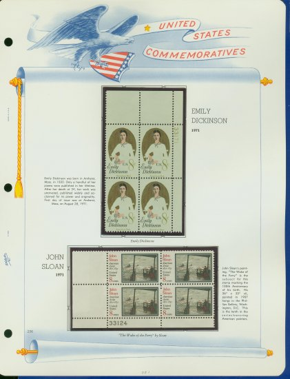 1971 USA MNH Sc# 1433, 36 - Plate #�d Blocks of 4 Stamps mounted on a White Ace Page � E2703