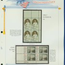 1971 USA MNH Sc# 1433, 36 - Plate #'d Blocks of 4 Stamps mounted on a White Ace Page – E2703