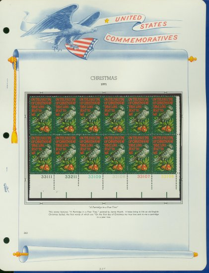 1971 USA MNH Sc# 1445 Plate #�d Block of 12 Stamps mounted on a WA Pg � Christmas � E2703