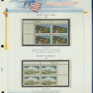 1972 USA MNH Sc# 1452, 54 – Plate #'d Blocks of 4 Stamps mounted on a White Ace Page – E2703