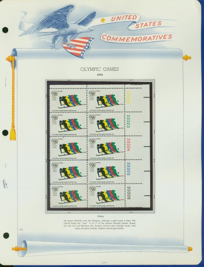 1972 USA MNH Sc# C85 Plate #�d Block of 10 Stamps mounted on a WA Pg � Olympics � E2703