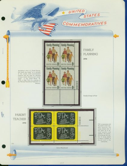 1972 USA MNH Sc# 1455, 63 � Plate #�d Blocks of 4 Stamps mounted on a White Ace Page � E2703