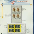 1972 USA MNH Sc# 1455, 63 – Plate #'d Blocks of 4 Stamps mounted on a White Ace Page – E2703