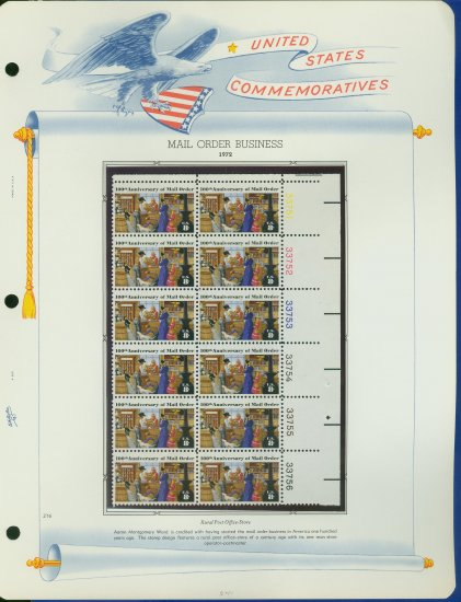 1972 USA MNH Sc# 1468 Plate #�d Block of 12 Stamps mounted on a WA Pg � Post Office � E2703