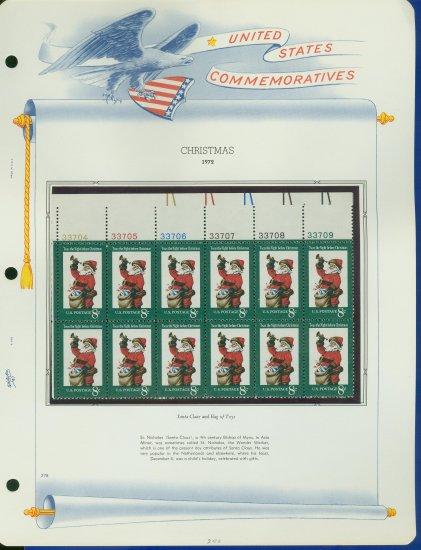 1972 USA MNH Sc# 1472 Plate #�d Block of 12 Stamps mounted on a WA Pg � Christmas � E2703