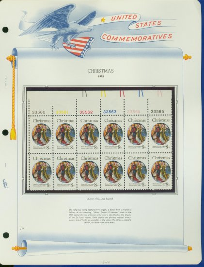 1972 USA MNH Sc# 1471 Plate #�d Block of 12 Stamps mounted on a WA Pg � Christmas � E2703