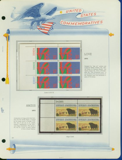 1973 USA MNH Sc# 1475, 1504 �Plate #�d Blocks of 6 & 4 Stamps mounted on a White Ace Pg �E2703