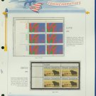 1973 USA MNH Sc# 1475, 1504 –Plate #'d Blocks of 6 & 4 Stamps mounted on a White Ace Pg –E2703