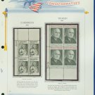 1973 USA MNH Sc# 1488, 99 – Plate #'d Blocks of 4 Stamps mounted on a White Ace Page – E2703