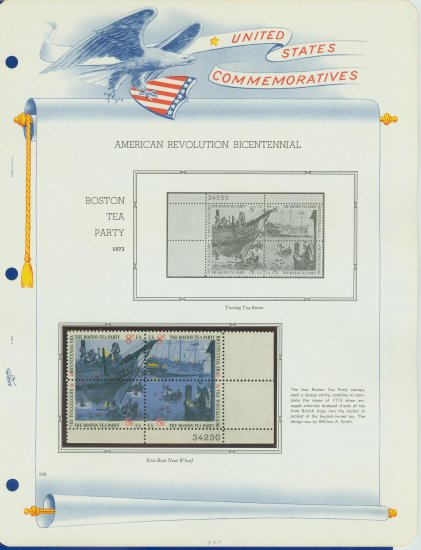 1973 USA MNH Sc# 1480 � 3 -Boston Tea Party Stamps on WA Pgs �Plt #�d Blks of 4� E2703
