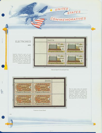 1973 USA MNH Sc# 1500, 1 � Plate #�d Blocks of 4 Stamps mounted on a White Ace Page � E2703