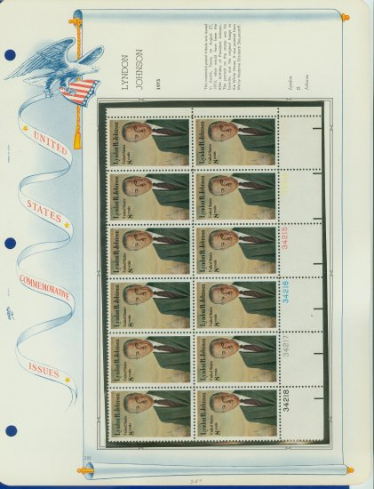 1973 USA MNH Sc# 1503 Plt #�d Blk of 12 Stamps mounted on a WA Pg � L B Johnson � E2703