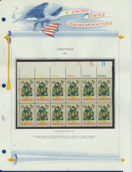 1973 USA MNH Sc# 1508 Plate #�d Block of 12 Stamps mounted on a WA Pg � Christmas � E2703